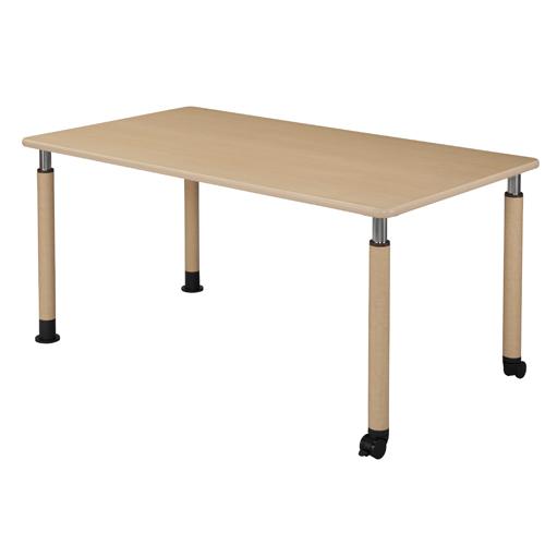 【お買得】昇降式テーブル 160×90cm(キャスター脚2本タイプ)メープル【代引不可】【送料無料(一部地域除く)】