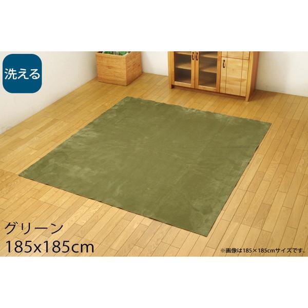 イケヒコ イーズ 洗える カーペット 2畳 185×185cm グリーン ISE185185 【代引不可】【送料無料(一部地域除く)】