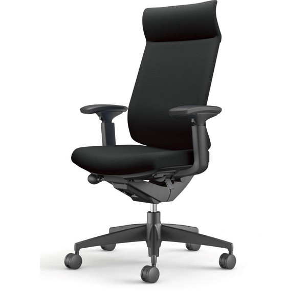 コクヨ(KOKUYO) オフィスチェア Wizard3(ウィザード3) ミドルマネージメント ブラックシェル 樹脂脚(ブラック) 布張 可動肘 ブラック CR-G3635F6G4B6-W 【代引不可】【送料無料(一部地域除く)】