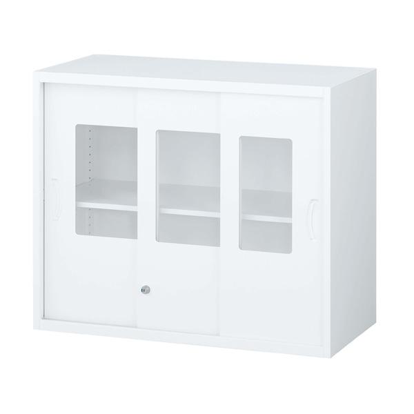 生興 クウォール システム収納庫 枠付ガラス3枚引戸書庫 上置専用 W900×D450×H750 RW45-307SG『代引不可』『送料無料(一部地域除く)』