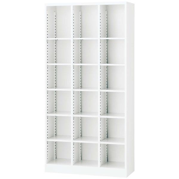 生興 3列オープン書庫(D350・ホワイト) W900×D350×H1800 SBKW-18【代引不可】【送料無料(一部地域除く)】