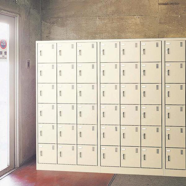 生興 SLCシューズボックス 南京錠取っ手 ニューグレー色 3列4段12人用 W900×D380×H880 SLC-M12-N【代引不可】