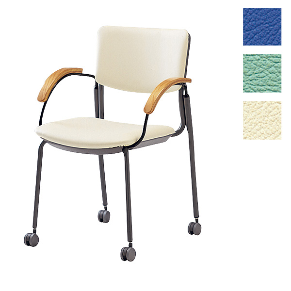 サンケイ ミーティングチェア 会議椅子 4本脚 キャスター付 粉体塗装 肘付 ビニールレザー張り CM351-MXC【代引不可】【送料無料(一部地域除く)】