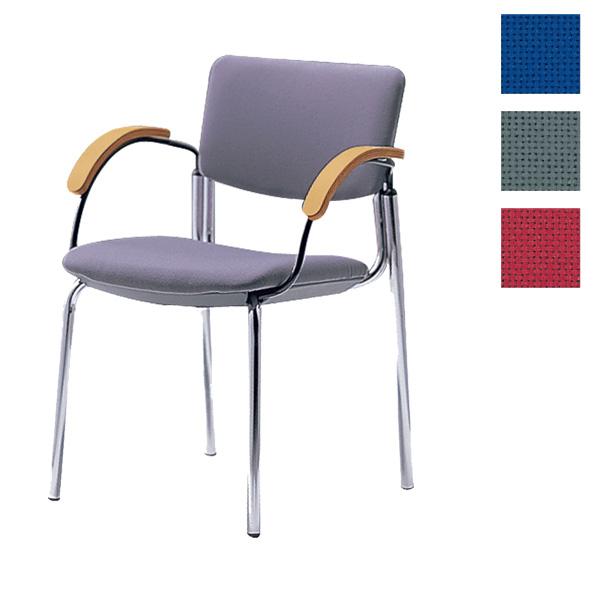 サンケイ ミーティングチェア 会議椅子 4本脚 クロームメッキ 肘付 布張り CM351-CY【代引不可】【送料無料(一部地域除く)】