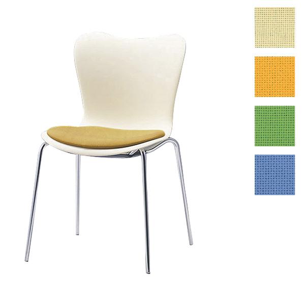 サンケイ ミーティングチェア 会議椅子 4本脚 クロームメッキ 肘なし 布張り CM510-CY【代引不可】【送料無料(一部地域除く)】