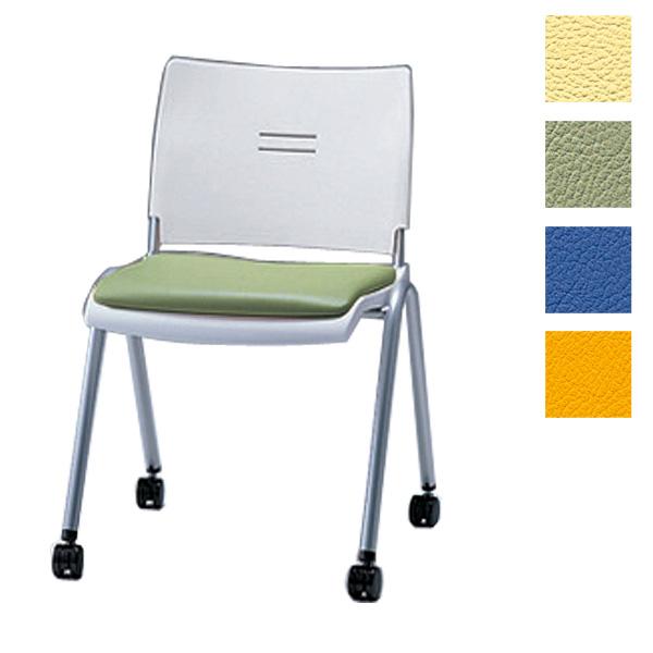 サンケイ ミーティングチェア 会議椅子 4本脚 キャスター付 粉体塗装 肘なし ビニールレザー張り CM710-MXC【代引不可】【送料無料(一部地域除く)】