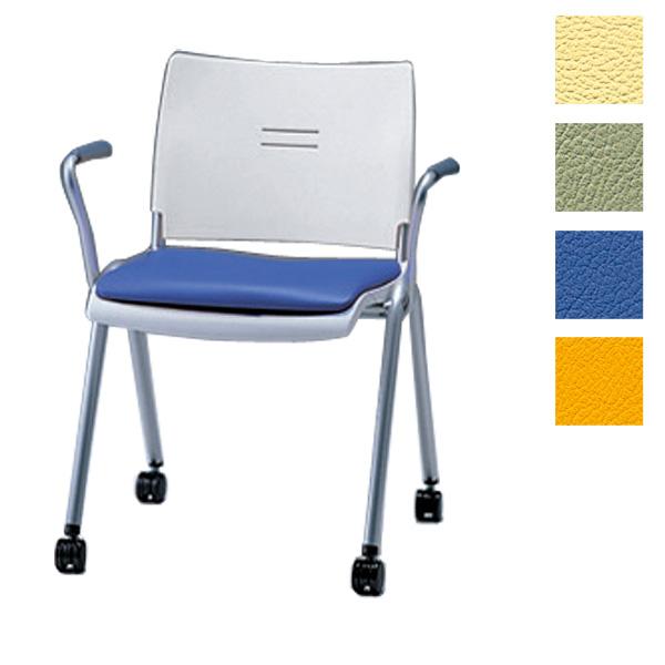 サンケイ ミーティングチェア 会議椅子 4本脚 キャスター付 粉体塗装 肘なし ビニールレザー張り CM711-MXC【代引不可】【送料無料(一部地域除く)】