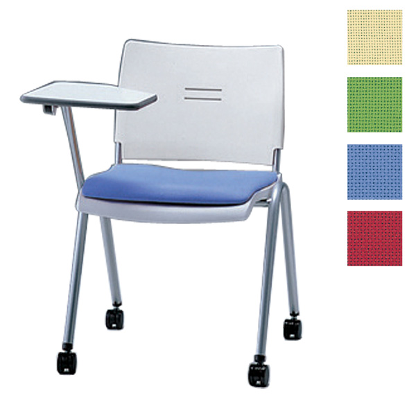 サンケイ ミーティングチェア 会議椅子 4本脚 キャスター付 粉体塗装 肘なし メモ板付 布張り CM710-MYMC【代引不可】【送料無料(一部地域除く)】