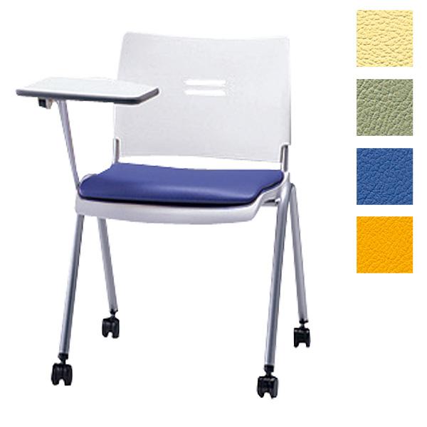 サンケイ ミーティングチェア 会議椅子 4本脚 キャスター付 粉体塗装 肘なし メモ板付 ビニールレザー張り CM710-MXMC【代引不可】【送料無料(一部地域除く)】