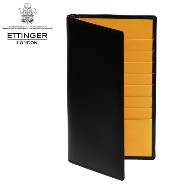 ETTINGER エッティンガー BRIDLE HIDE ブライドルレザー 二つ折り長財布 ブラック/イエロー BH806AJR【送料無料(一部地域除く)】