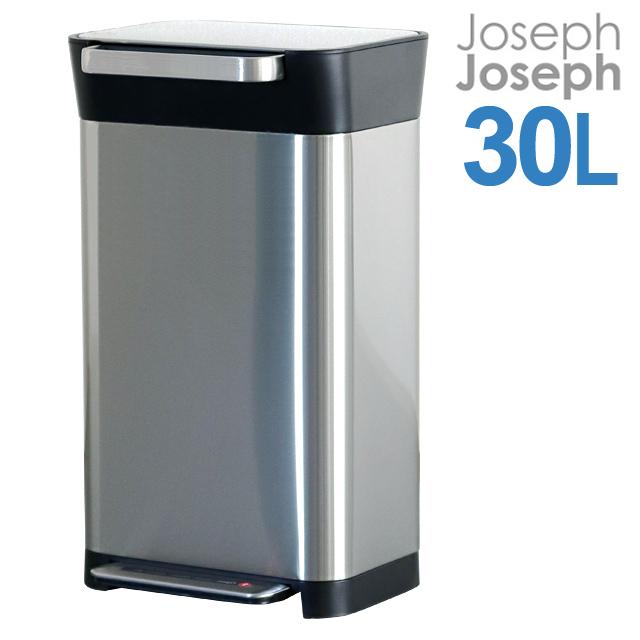 ゴミの体積を1/3に減らし、約3倍量をスマートに収めるゴミ箱「クラッシュボックス」。 Joseph Joseph ジョセフジョセフ クラッシュボックス 30L(最大90L) シルバー Titan Trash Compactor 30030 圧縮ゴミ箱【送料無料(一部地域除く)】