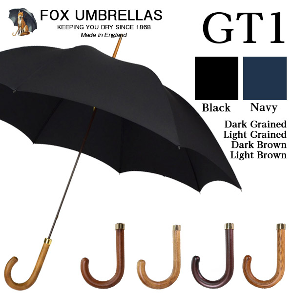 FOX Umbrellas フォックスアンブレラ メンズ 長傘 GT1 ブラック/ネイビー Hardwood handle ポリッシュドハードウッドハンドル【送料無料(一部地域除く)】
