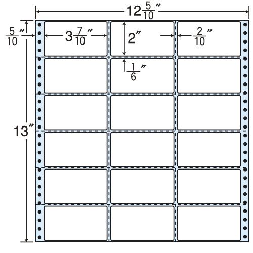 ラベルシール 東洋印刷 MX12Z タックシール (連続ラベル) レギュラータイプ 500折【代引不可】【送料無料(一部地域除く)】