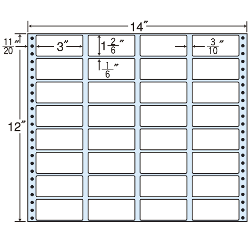 ラベルシール MT14G タックシール (連続ラベル) レギュラータイプ 500折【代引不可】【送料無料(一部地域除く)】
