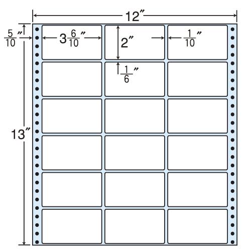 ラベルシール M12A タックシール (連続ラベル) レギュラータイプ 500折【代引不可】【送料無料(一部地域除く)】