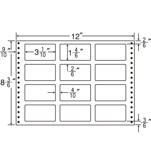 ラベルシール LT12N タックシール (連続ラベル) 耐熱タイプ 500折【代引不可】【送料無料(一部地域除く)】