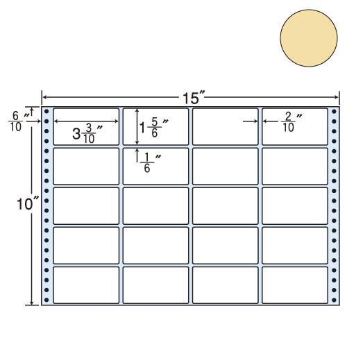 ラベルシール 東洋印刷 M15EH タックシール (連続ラベル) カラータイプベージュ 500折【代引不可】【送料無料(一部地域除く)】