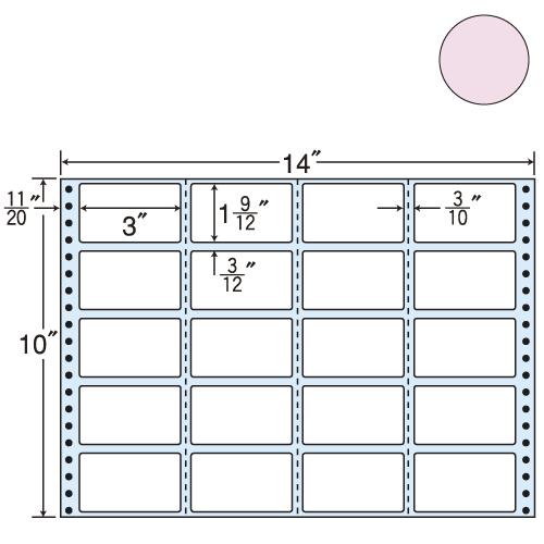 ラベルシール 東洋印刷 M14IP タックシール (連続ラベル) カラータイプピンク 500折【代引不可】【送料無料(一部地域除く)】