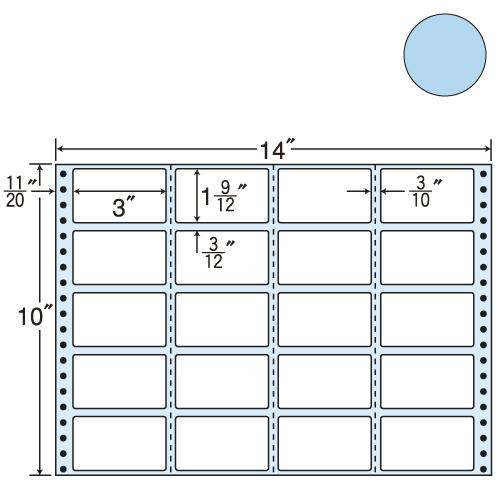 ラベルシール 東洋印刷 M14IB タックシール (連続ラベル) カラータイプブルー 500折【代引不可】【送料無料(一部地域除く)】