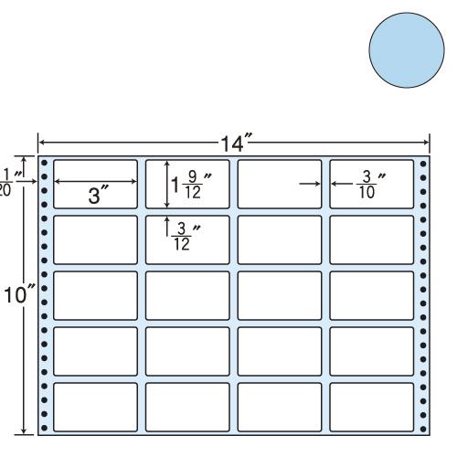 ラベルシール 東洋印刷 MT14JB タックシール (連続ラベル) カラータイプブルー 500折【代引不可】【送料無料(一部地域除く)】