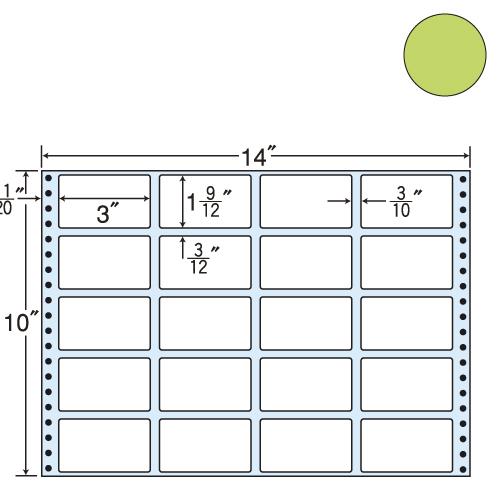 ラベルシール 東洋印刷 MT14JG タックシール (連続ラベル) カラータイプグリーン 500折【代引不可】【送料無料(一部地域除く)】
