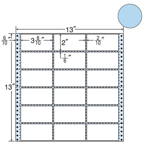 ラベルシール 東洋印刷 M13AB タックシール (連続ラベル) カラータイプブルー 500折【代引不可】【送料無料(一部地域除く)】
