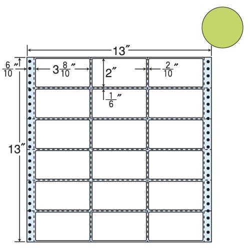 ラベルシール 東洋印刷 M13AG タックシール (連続ラベル) カラータイプグリーン 500折【代引不可】【送料無料(一部地域除く)】