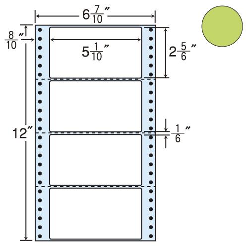 ラベルシール 東洋印刷 MM6AG タックシール (連続ラベル) カラータイプグリーン 1000折【代引不可】【送料無料(一部地域除く)】
