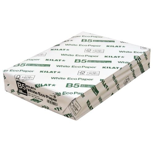 B5サイズ用紙 普通紙 OA用紙 オフィス用品 コピー用紙 B5サイズ 倉庫 ホワイトエコ 1冊 新作通販 パソコン 500枚 ホワイトエコペーパーB5サイズ 白色用紙 キラット