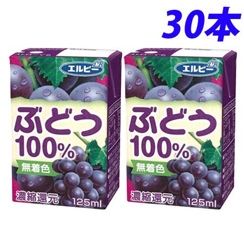 爽やかなグレープの香りと味が広がる果汁100%ジュース! エルビー ぶどう100% 125ml×30本