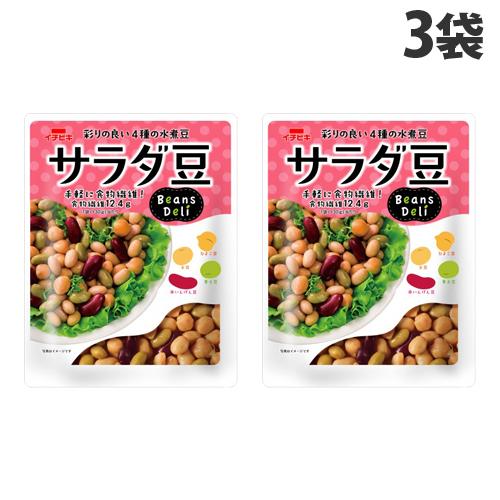 彩りの良い4種の豆 大豆 青大豆 ひよこ豆 赤いんげん豆 イチビキ 卓出 爆安プライス Beans 豆類 Deli おかず 125g×3袋 惣菜 サラダ豆 豆