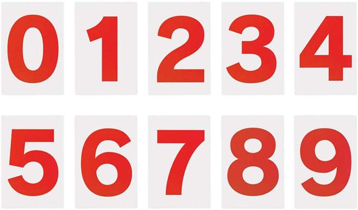 スチール複合板製プライスボード用数字マグネットのバラ売りです 必要な数字をお買い求めください スチール製 プライスボード用 《週末限定タイムセール》 市場 白赤 数字マグネット 10枚入 小