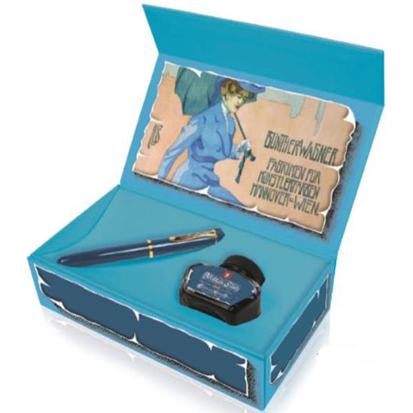 【特別生産】Perikan(ペリカン)クラシック 万年筆 インク付Boxセットアイコニックブルー M120 EF/FP(極細字)[4988891051119]【あす楽_関東】【送料無料】