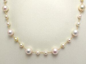 【82.5cm】あこや真珠 デザイン ステーションネックレス K18【送料無料】ゴールド ロング パール 専門 auktn