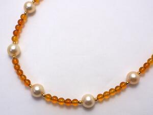 琥珀 パール デザインネックレス あこや真珠 和珠 SV【送料無料】コハク パール 専門 auktn