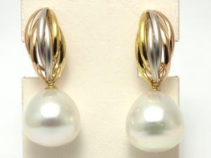 南洋白蝶真珠 12 5mm大珠 デザインイヤリング バネ式クリップ 送料無料 プラチナK18ピンクゴールドrCBxode