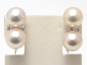 あこや真珠(和珠)ダイヤモンド デザインイヤリング WGホワイトゴールド【送料無料】 パール 専門 auktn