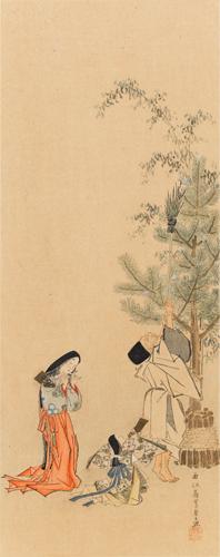 嵩谷筆 嬪御弄羽子圖