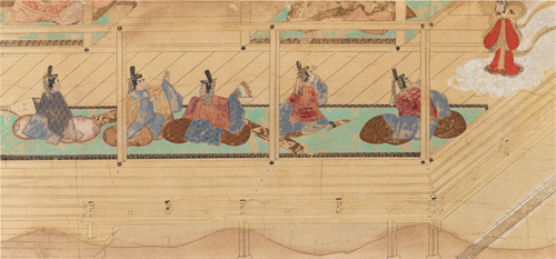 Scene from the Scroll-Paintings on the Sagoromo-monogatari,attributed to Mitsunaga Tosa.
