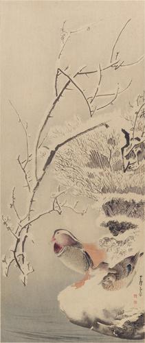 長澤蘆雪筆 雪中鴛鴦圖