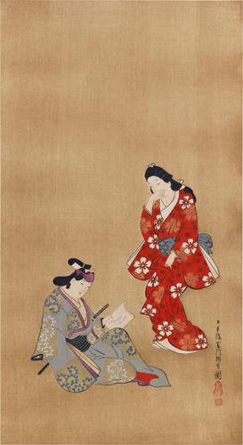 菱川師宣筆 美人若衆圖