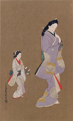 菱川師宣筆 美人少女圖