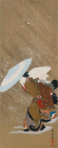 喜多川藤麿筆 雪中美人圖