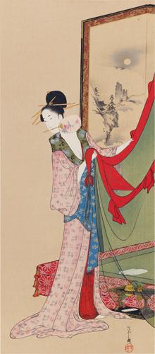細田榮之筆 閨裡美人圖