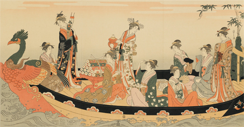 細田榮之筆 美人寶船圖
