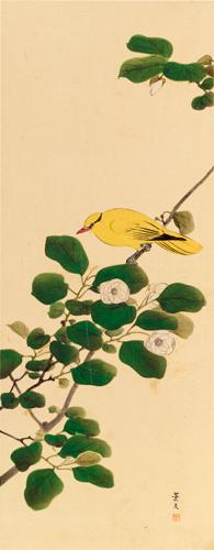 景文筆 椿花小禽圖
