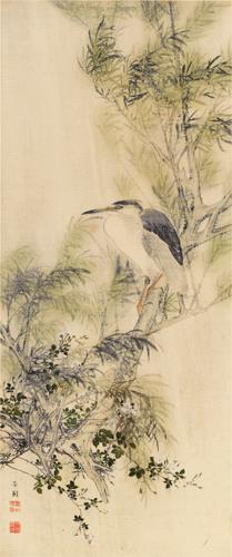 西山芳園筆 楊柳天鷺圖