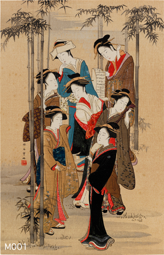 勝川春章筆 竹林七美人圖