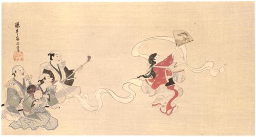 徳川時代 英 一蝶筆 布晒舞圖
