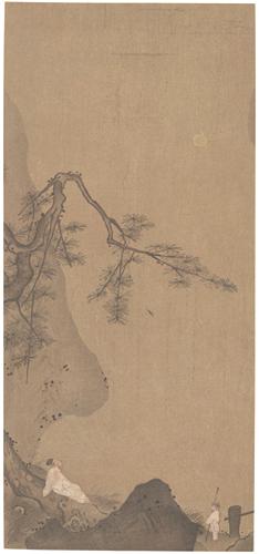 宋代 傳馬遠筆 高士観月圖